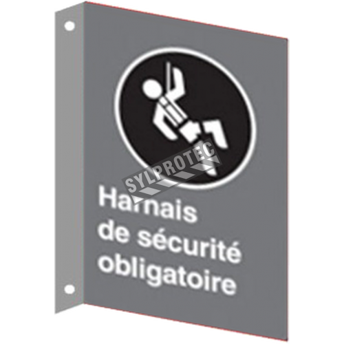 """French CSA """"Safety Harness Mandatory"""" sign in various sizes, shapes, materials & languages + optional features"""