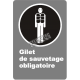 """French CSA """"Life Jacket Mandatory"""" sign in various sizes, shapes, materials & languages + optional features"""
