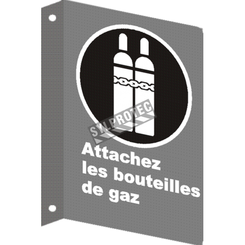 """French CSA """"Attach Gas Cylinder"""" sign in various sizes, shapes, materials & languages + optional features"""