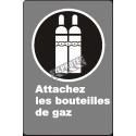 Affiche CDN «Attachez les bouteilles de gaz» de langue française: langues, formats & matériaux divers + options