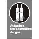 "French CDN ""Attach Gas Cylinder"" sign in various sizes, shapes, materials & languages + optional features"