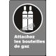 Affiche CSA «Attachez les bouteilles de gaz» de langue française: langues, formats & matériaux divers + options