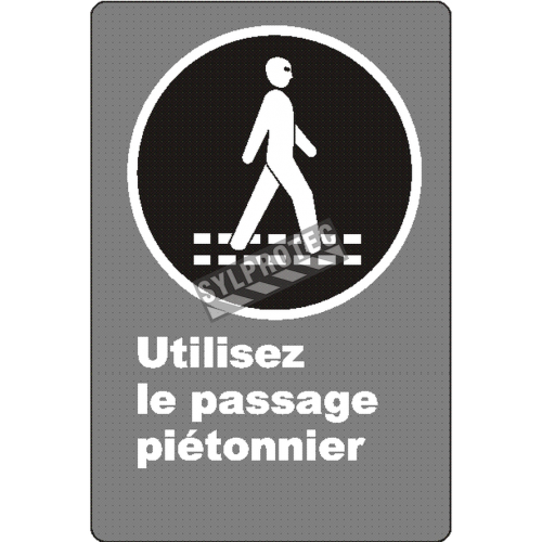 """French CSA """"Use Pedestrian Walkway"""" sign in various sizes, shapes, materials & languages + optional features"""