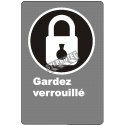 "French CDN ""Keep Locked"" sign in various sizes, shapes, materials & languages + optional features"