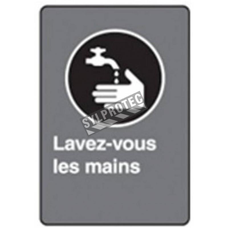 Affiche CSA «Lavez-vous les mains» en français: formats variés, matériaux divers, d'autres langues & options
