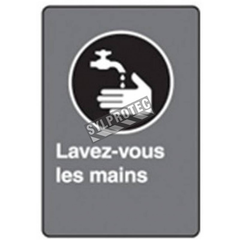 """French CSA """"Wash Your Hands"""" sign in various sizes, shapes, materials & languages + optional features"""