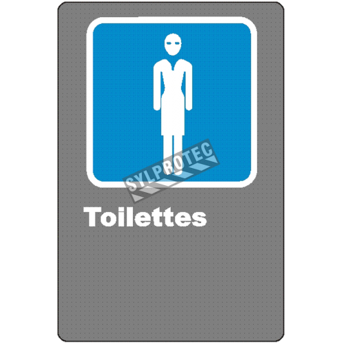 "French CSA women ""Toilette"" sign in various sizes, shapes, materials & languages + optional features"