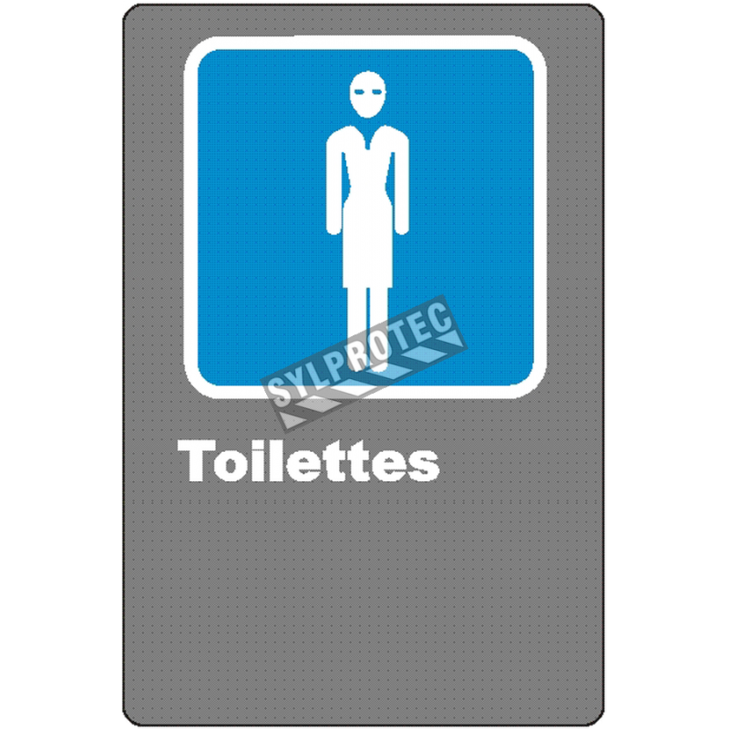 """French CSA women """"Toilette"""" sign in various sizes, shapes, materials & languages + optional features"""