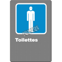 """French CDN men """"Toilette"""" sign in various sizes, shapes, materials & languages + optional features"""