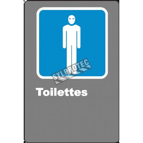 Affiche CSA «Toilette» pour homme de langue française: langues, formats & matériaux divers + options