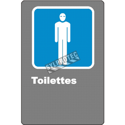 "French CSA men ""Toilette"" sign in various sizes, shapes, materials & languages + optional features"