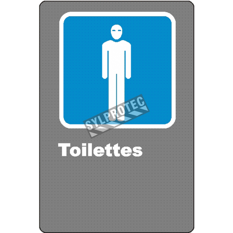 """French CSA men """"Toilette"""" sign in various sizes, shapes, materials & languages + optional features"""