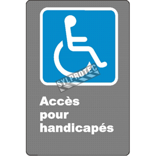 "French CSA ""Acces for the Disabled"" sign in various sizes, shapes, materials & languages + optional features"
