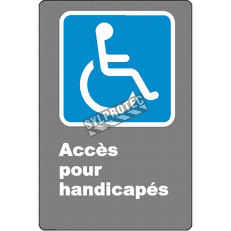 """French CSA """"Acces for the Disabled"""" sign in various sizes, shapes, materials & languages + optional features"""