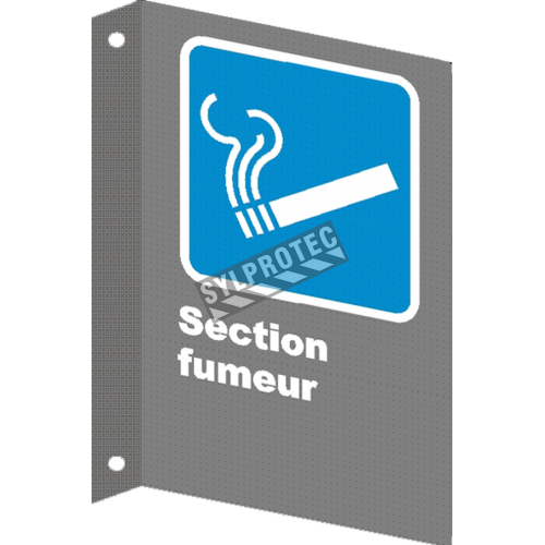 "French CSA ""Smoking Area"" sign in various sizes, shapes, materials & languages + optional features"