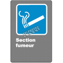 """French CDN """"Smoking Area"""" sign in various sizes, shapes, materials & languages + optional features"""