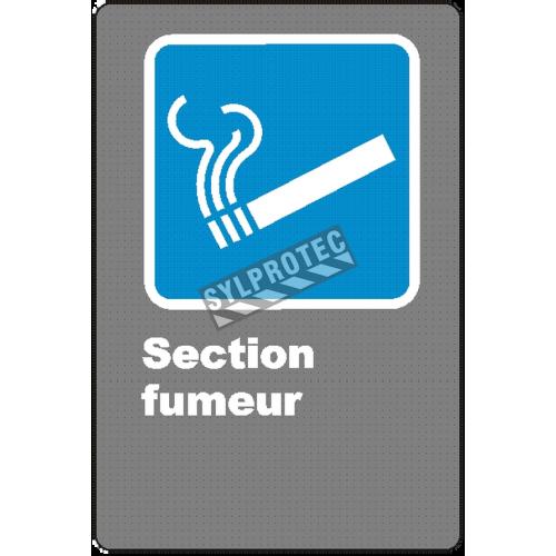 Affiche CSA «Zone fumeur» en français: formats variés, matériaux divers, d'autres langues & options