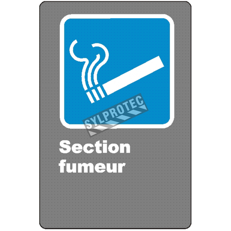 """French CSA """"Smoking Area"""" sign in various sizes, shapes, materials & languages + optional features"""