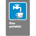 """French CDN """"Drinking Water"""" sign in various sizes, shapes, materials & languages + optional features"""