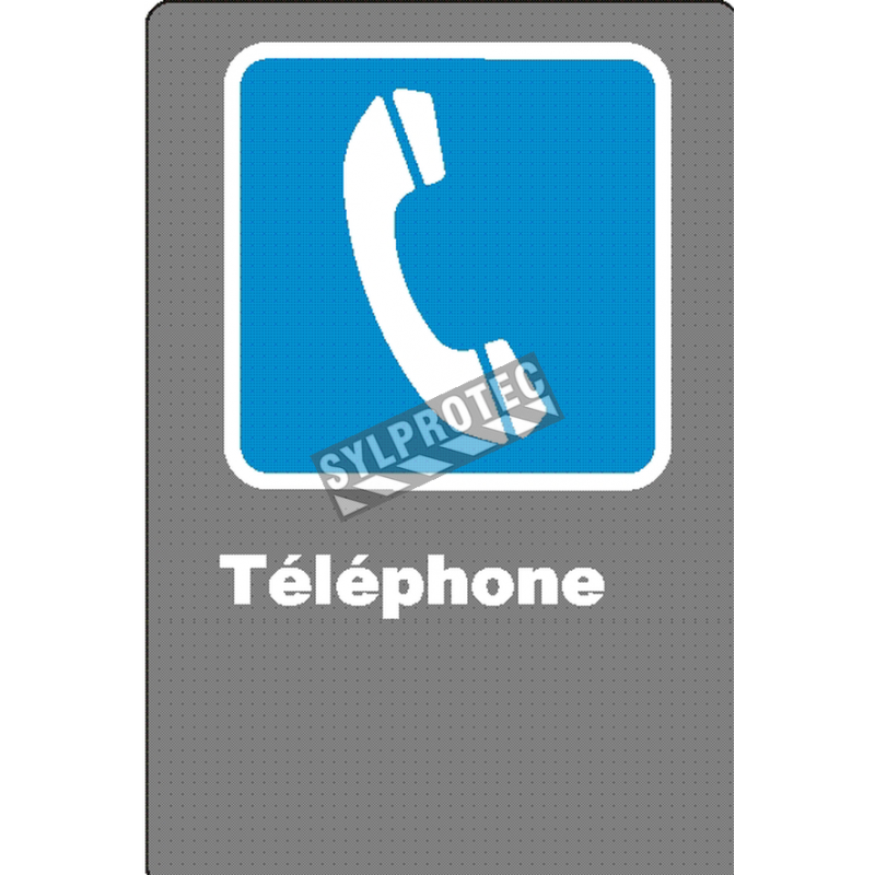 """French CSA """"Telephone"""" sign in various sizes, shapes, materials & languages + optional features"""