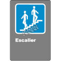 """French CDN """"Stairs"""" sign in various sizes, shapes, materials & languages + optional features"""