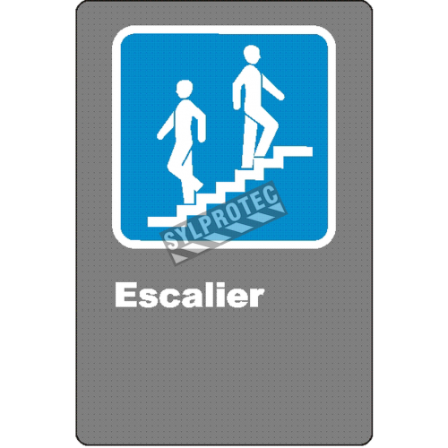 "French CSA ""Stairs"" sign in various sizes, shapes, materials & languages + optional features"