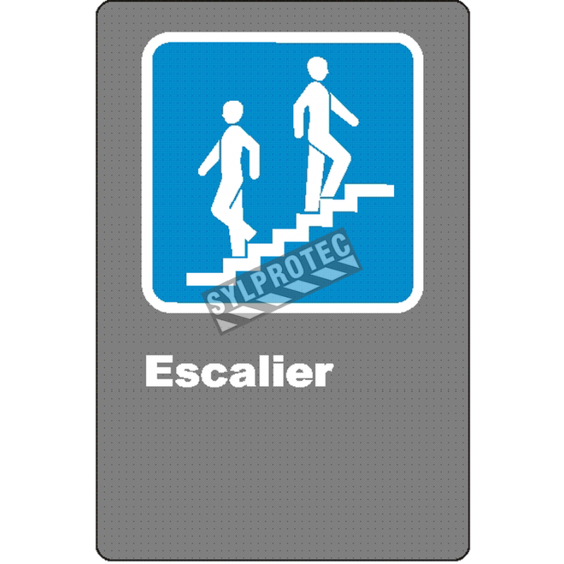 """French CSA """"Stairs"""" sign in various sizes, shapes, materials & languages + optional features"""
