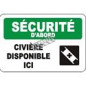 Affiche OSHA «Sécurité d'abord Civière disponible ici» en français: langues, options, formats & matériaux variés