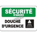 Affiche OSHA «Sécurité d'abord Douche d'urgence» en français: langues, formats, matériaux & éléments optionnels variés