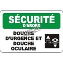 Affiche OSHA «Sécurité d'abord Douche d'urgence et douche oculaire»: langues, options, formats & matériaux variés