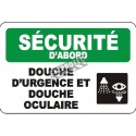 "French OSHA ""Safety First Emergency Shower and Eyewash Station"" sign: many languages, sizes & materials, options available"