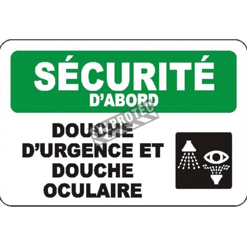 """French OSHA """"Safety First Emergency Shower and Eyewash Station"""" sign: many languages, sizes & materials, options available"""