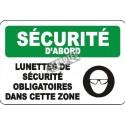 Affiche OSHA «Lunettes de sécurité obligatoires dans cette zone», langues, options, formats & matériaux variés