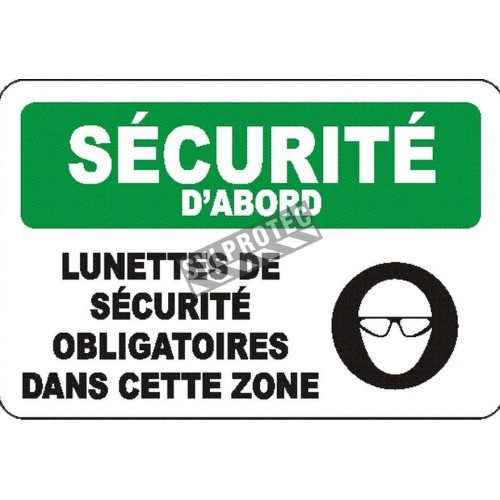 """French OSHA """"Safety First Safety Glasses Required in this Area"""" sign in various sizes, materials, languages & options"""