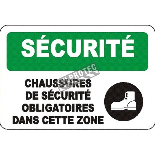 """French OSHA """"Safety Protective Footwear Required in this Area"""" sign: various sizes, materials, languages & optional features"""
