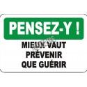 Affiche OSHA «Pensez-y! Mieux vaut prévenir que guérir» en français: langues, formats, matériaux & éléments optionnels variés
