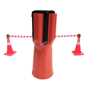 Tensacone traffic cone topper with retractable red & white striped barrier belt, max length 13 feet (4 m).