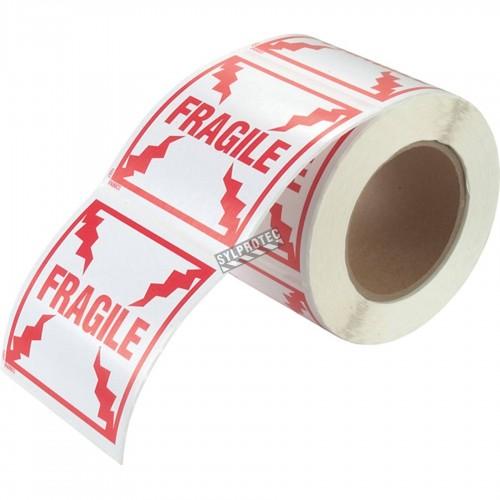 """Étiquette """"FRAGILE""""  4 po X 4 po, rouleau de 500. Permets de porter attention au colis lors de l'expédition."""