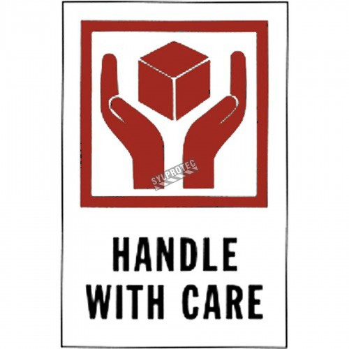 "Stickers ""HANDLE WITH CARE"" 4 in X 6 in, rolls of 500."