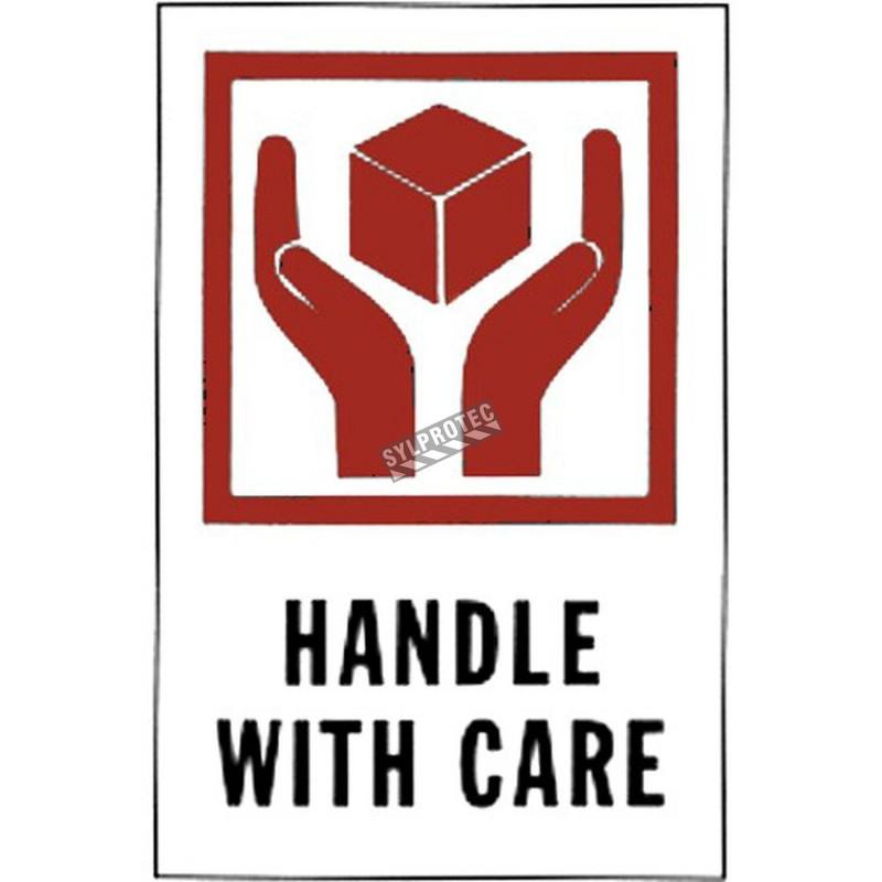 """Étiquette """"HANDLE WITH CARE""""  4 X 6 po  rouleau de 500"""