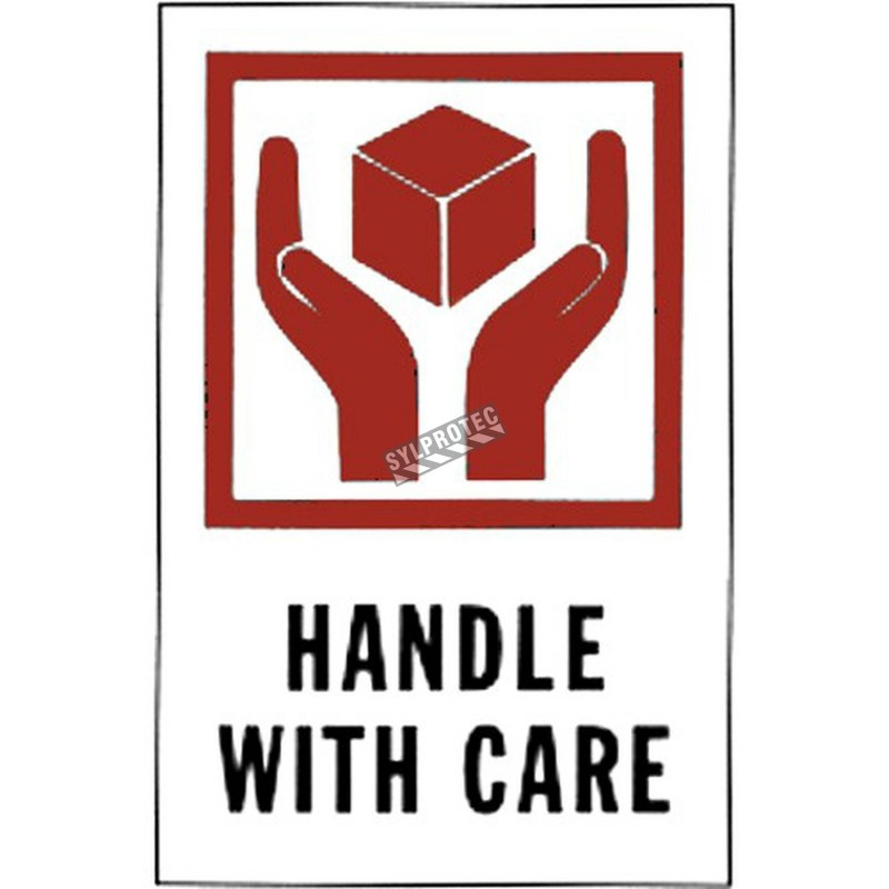 """Stickers """"HANDLE WITH CARE"""" 4 in X 6 in, rolls of 500."""