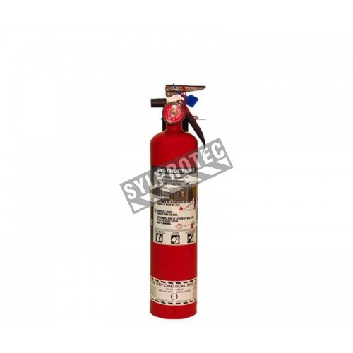 Portable fire extinguisher with powder, 2.5 lbs type ABC, ULC 1A-10BC, with vehicle hook.
