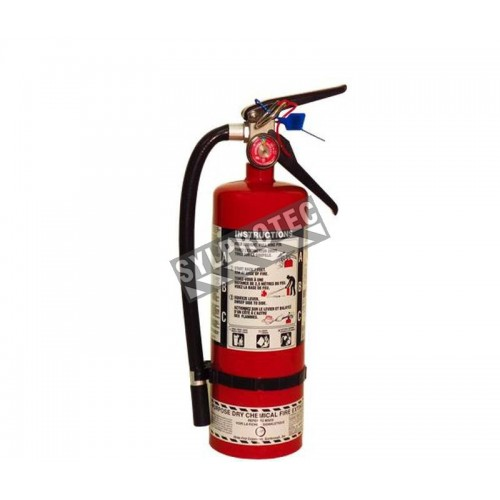 Portable fire extinguisher with powder, 5 lbs, type ABC, ULC 3A-10BC, with wall hook.