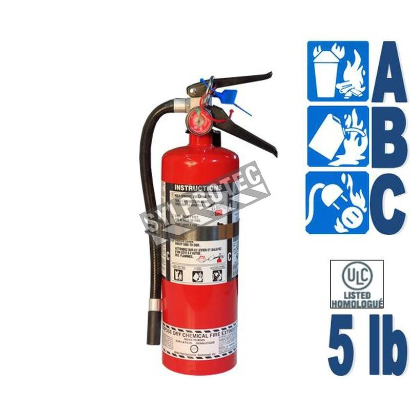 Portable fire extinguisher with powder, 5 lbs, type ABC, ULC 3A-40BC, with vehicle hook.