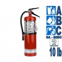 Portable fire extinguisher with powder 10 lbs type ABC ULC 6A 80 BC with wall hook