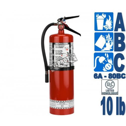 Portable fire extinguisher with powder, 10 lbs type ABC, ULC 6A 80 BC, with wall hook.