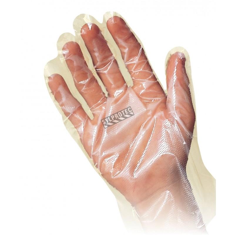 Gants économique fait  de polyéthylène mince, grandeur extra-large, ambidextre, sac de 100 gants.