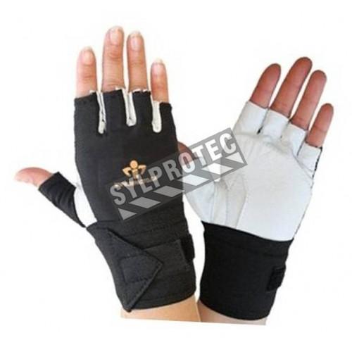 Gants mi-doigts AirGloves d'Impacto en cuir de vache & en nylon pour protection contre les impacts. Vendu à l'unité.