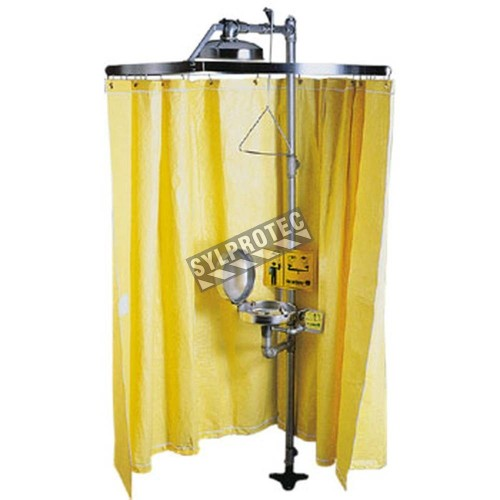Highly-visible yellow curtain for emergency shower, made by Bradley, 178 x 369 cm (70 x 145 in).