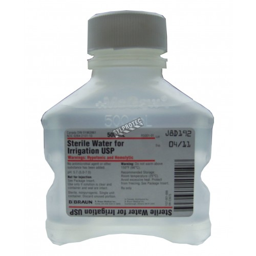 Sterile water 500 ml for irrigation in a PVC bottle